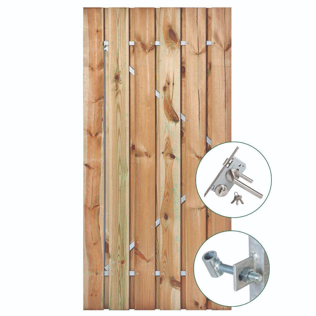 Afbeelding van Grenen poort 190 cm hoog | met stalen frame en RVS slot | verkrijgbaar in twee breedtes