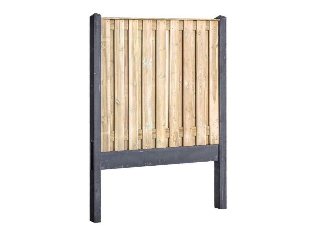 Afbeelding van Grenen hout beton schutting-19 planks-Antraciet
