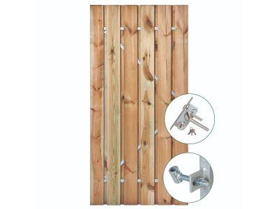 Grenen poort 190 cm met stalen frame en RVS slot Geel groen