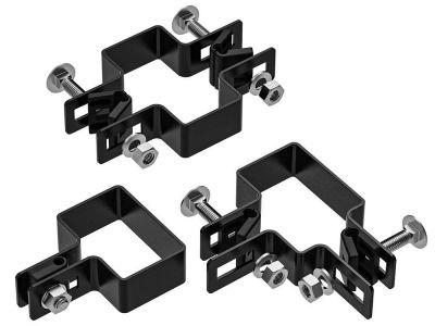 Bevestiging beugels voor 6 x 4 cm paal | zwart