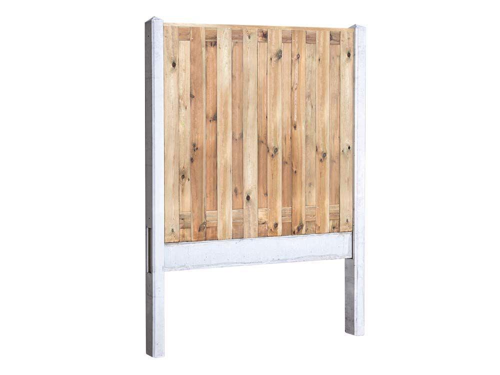 Afbeelding van Grenen hout beton schutting-17 planks -Licht grijs