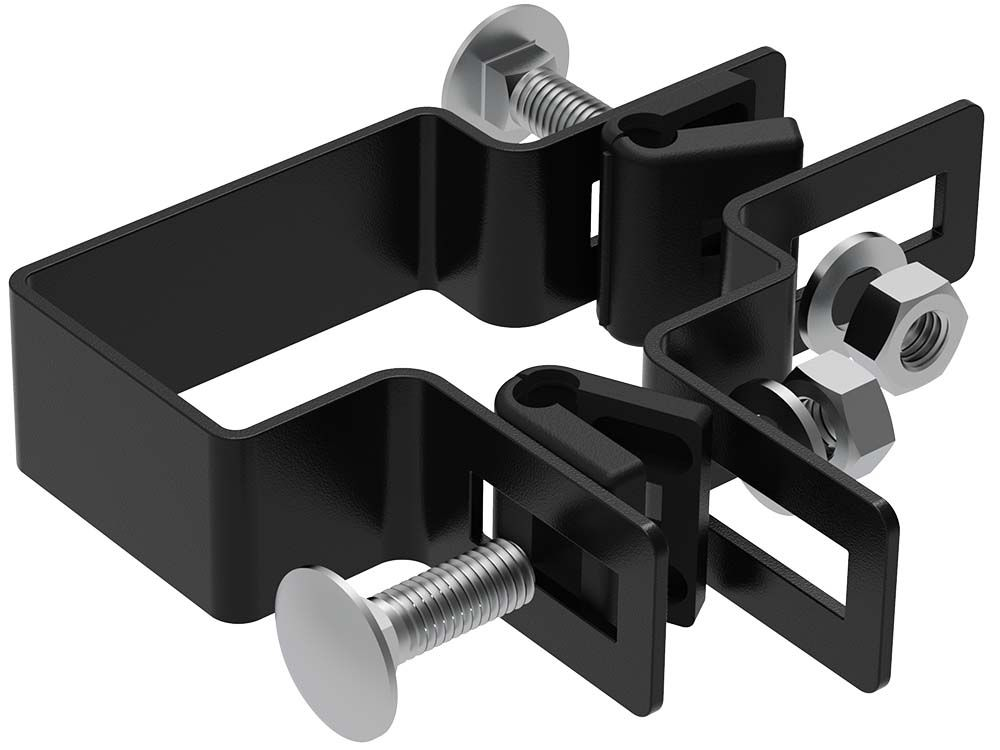 Afbeelding van Bevestiging beugels voor 6 x 4 cm paal | zwart-Zwart RAL9005-Hoekbeugel