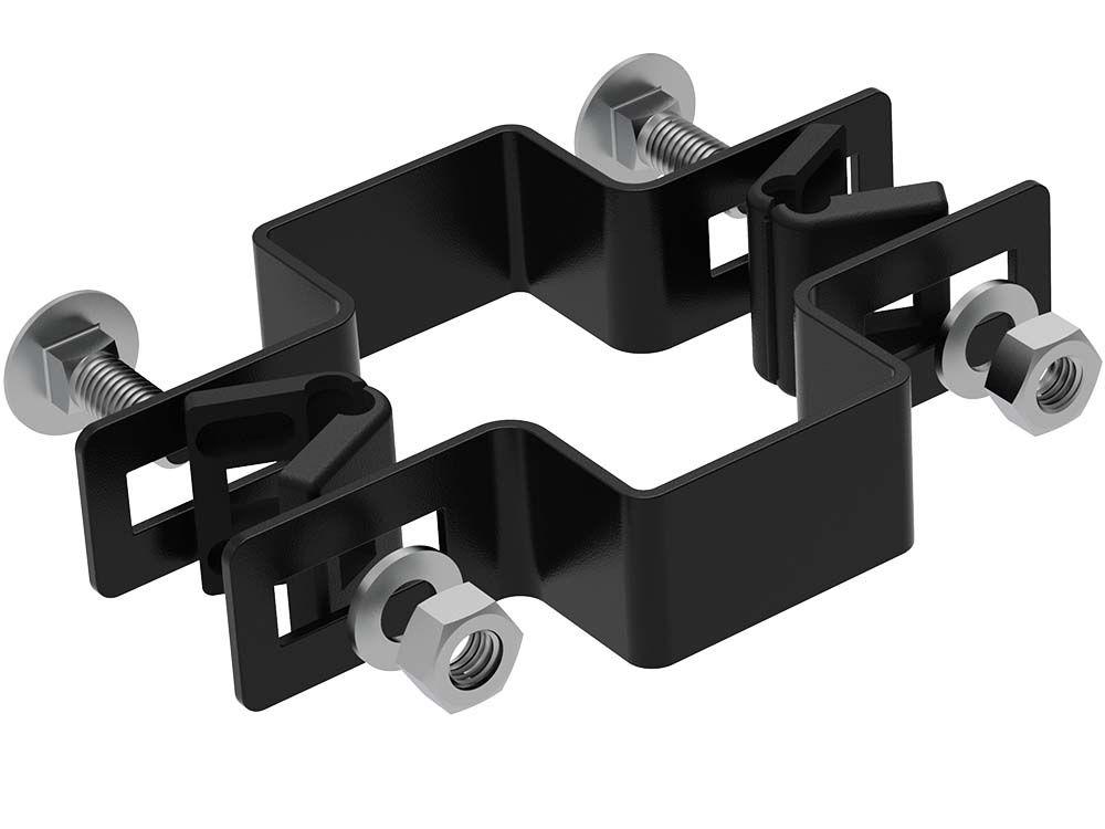 Afbeelding van Bevestiging beugels voor 6 x 4 cm paal | zwart-Zwart RAL9005-Tussenbeugel
