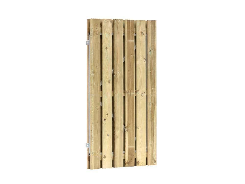 Afbeelding van Grenen poort 190 cm hoog | met stalen frame en RVS slot | verkrijgbaar in twee breedtes-Geel-groen-100 cm