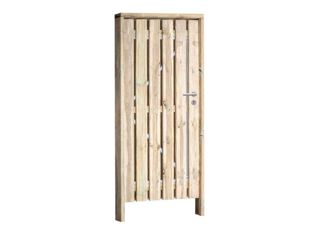 Afbeelding van Grenen poort compleet | inclusief hang en sluitwerk -Geel-groen-100 cm