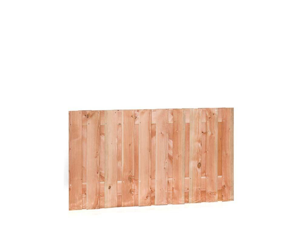 Afbeelding van Douglas hout tuinscherm   21 planks   verschillende hoogtes-Rood-bruin-90 cm