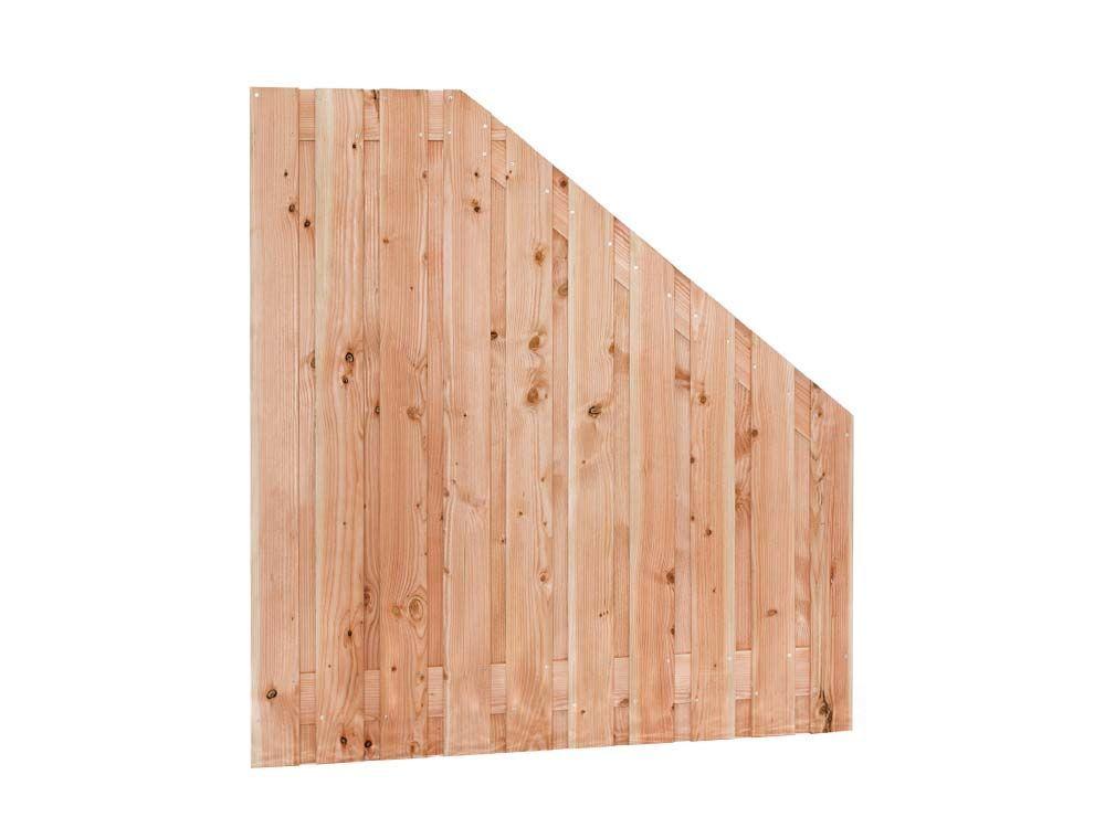 Afbeelding van Douglas hout tuinscherm   21 planks   verschillende hoogtes-Rood-bruin-Verloop